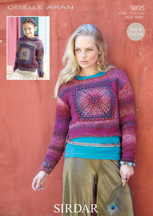 Granny Square Sweaters Aran Knitting Pattern Sirdar Giselle 9895