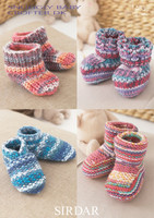 Babies to Children's Bootees and Slippers DK Knitting Patterns using Sirdar Baby Crofter DK, Pattern Number 1483 - Main image