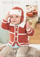 Babies / Boys Cardigan, Helmet & Bootees Patterns | Sirdar Snuggly / Snowflake DK 1476