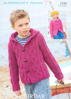 Childrens Cardigan at and Hoodie Aran Pattern | Sirdar Supersoft Aran 2334
