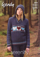 Ladies Hoodie and Sweater Chunky Pattern | Wendy Serenity Chunky 5833