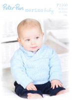 Shawl-necked Sweater and Bobble Hat DK Pattern | Peter Pan Merino Baby DK 1160