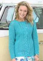 Mesh & Cabled Jumper DK Knitting Pattern | Wendy Supreme Cotton DK 5767
