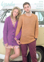 Mens and Ladies loose Cardigan & Sweater Pattern | Wendy Supreme Cotton Chunky 5774