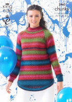 Grandad Sweater and Long Sweater Chunky Pattern in King Cole Riot Chunky - Pattern 1