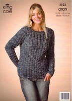 Ladies Cardigan and Sweater Aran Patterns | King Cole Aran 3522