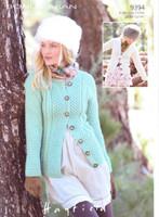Ladies Cardigan Aran Knitting Pattern | Sirdar Hayfield Aran 9394