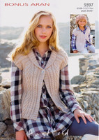 Childrens and Ladies Cabled Waistcoat Aran Pattern | Sirdar Aran 9397