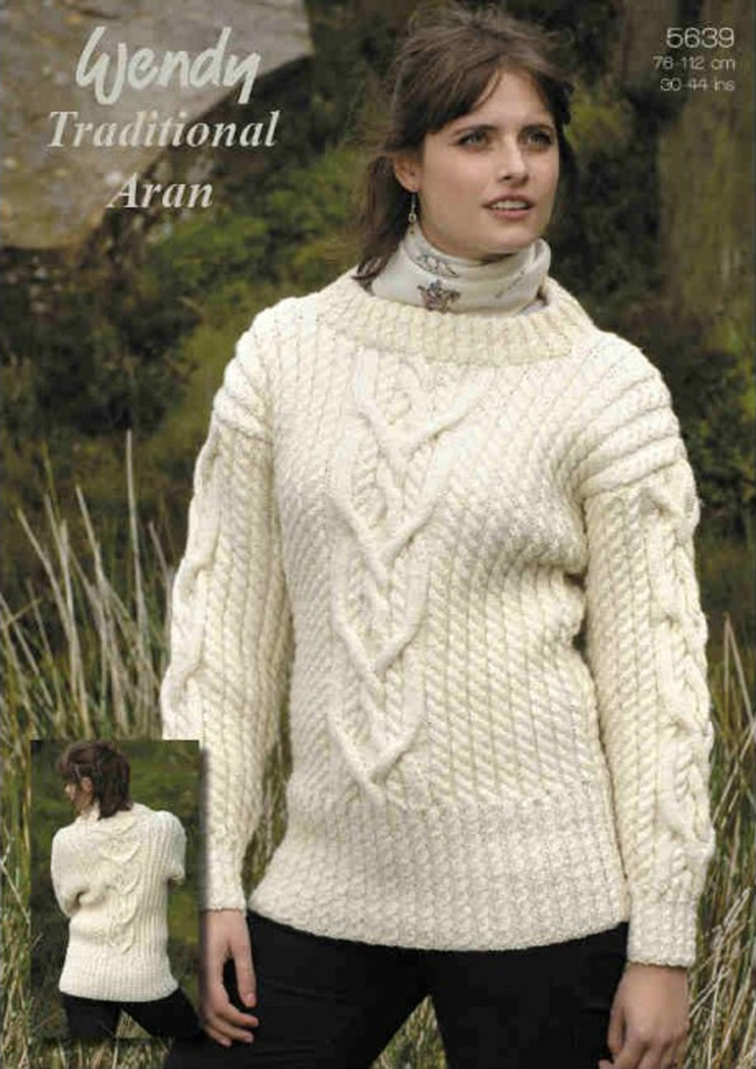 2bd76e0a9ae4 ... Ladies Cabled Sweater Aran Patterns