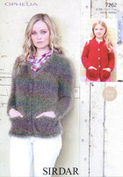 Chunky Pattern for a Ladies / Childs Classic Cardigans - Sirdar Ophelia 7262