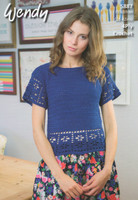 4 Ply Crochet Pattern Lace Edge Tops with Back fastening - Wendy Supreme Cotton 4 Ply Pattern