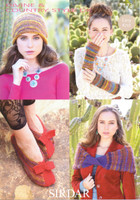 Wrap, Slippers, Hat & Wrist Warmer Pattern | Sirdar Divine and Country Style DK 7173