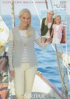 Ladies Waistcoat & Cardigan Aran Patterns   Sirdar Cotton Rich Aran 7277