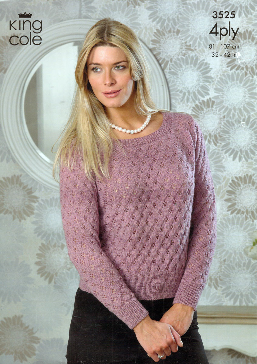 2e36ff7f9 Lacy Sweater and Top 4 Ply Pattern