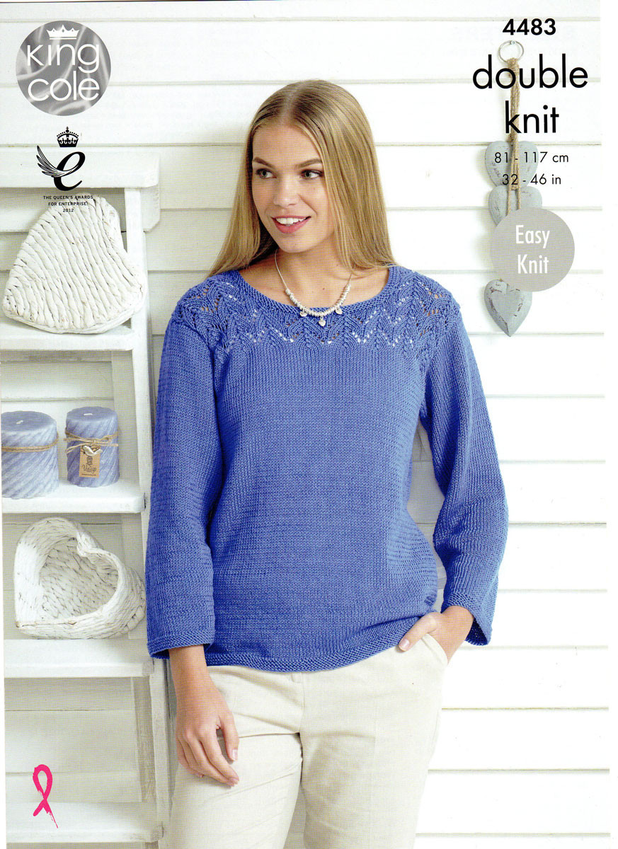 Two Easy Knit Sweater Patterns King Cole Dk 4483 Outback Yarns