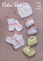 Crochet pattern for baby bonnet, mitts and bootees - Peter Pan 4ply