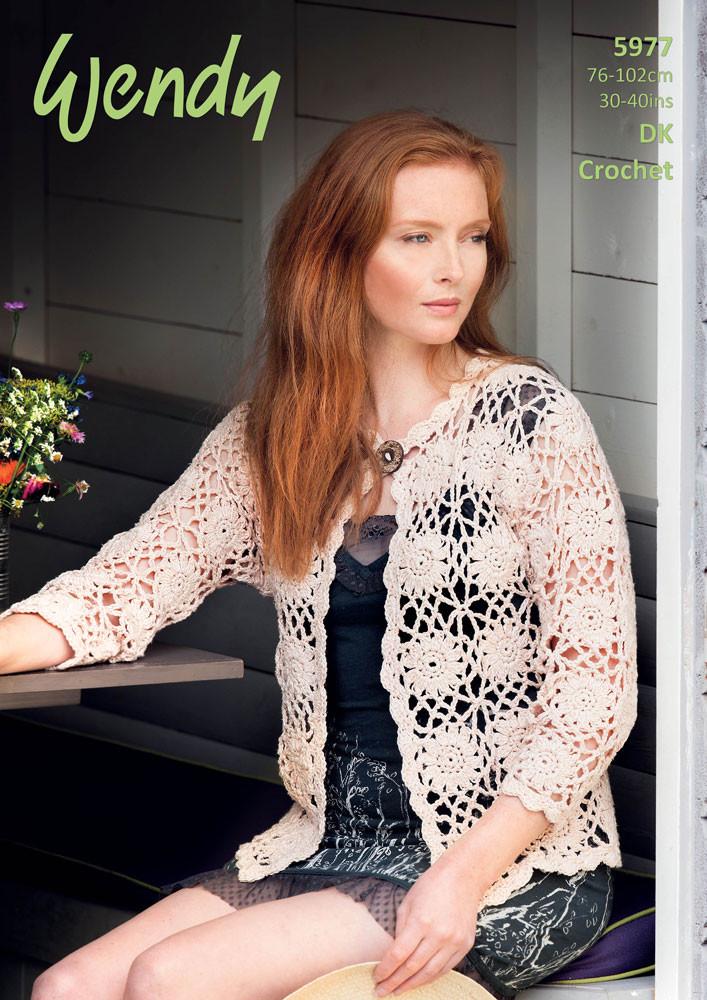 Cardigan Crochet Pattern Wendy Luxury Supreme Cotton Silk Dk 5977