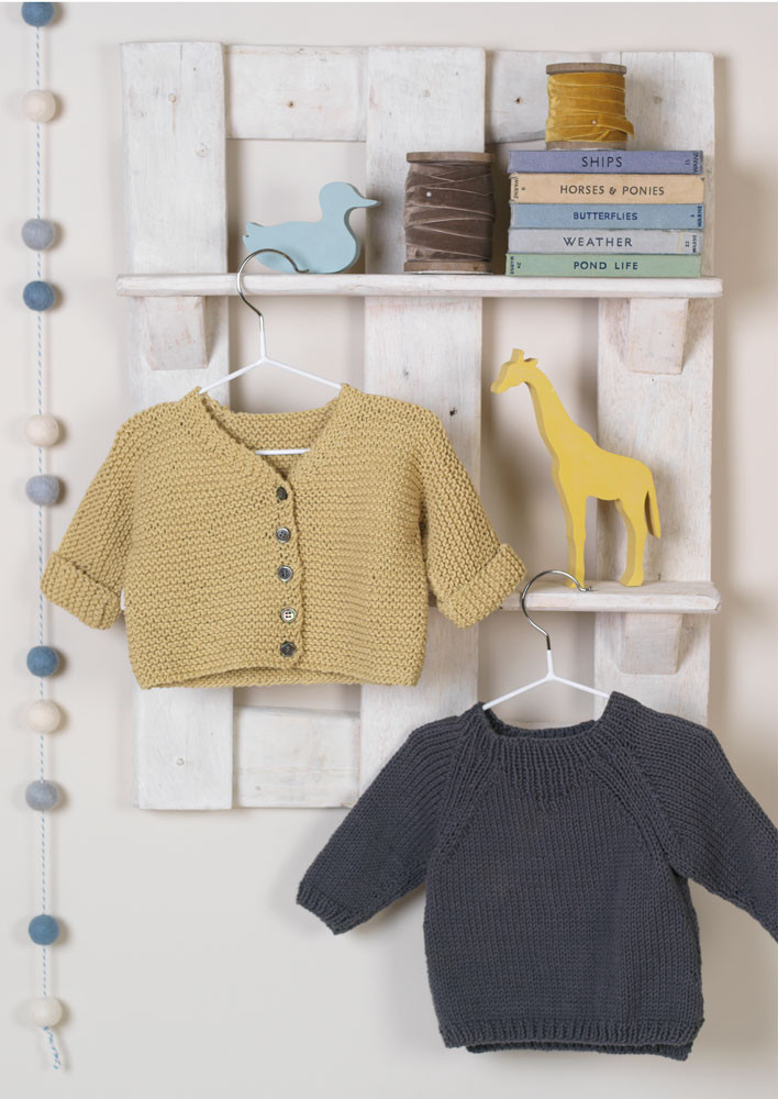8b7dda1f704423 Jammy and Dodger - Pattern for a Simple Cardigan and Sweater - Erika Knight.  Loading zoom
