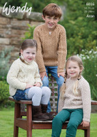 Pattern for Childrens Aran Sweaters in Wendy Aran with wool | 6016