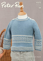 Pattern for Childrens' Sweater and Slipover in Peter Pan Merino Baby Dk | 1272