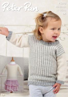 Baby & Childs Sweater Top Pattern | Peter Pan Petite Fleur DK 1278