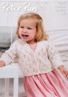 Baby & Girls Lacy Cardigans & Gilet Patterns | Peter Pan Petite Fleur DK 1277