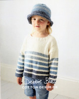 Childs Striped Sweater and Hat Knitting pattern | Debbie Bliss Cotton Denim DK