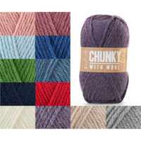 Sirdar Hayfield Chunky with Wool Knitting Yarn, 100g | Various Shades