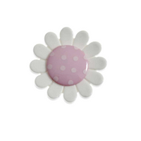 Large White Flower Button with Pink Spot middle - 23 mm
