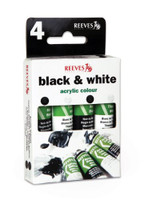 Reeves | Acrylic Colours | Trend Pack | Black and White Acrylic Paints | 4 x10 ml - Main Image