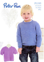 Long and Short Sleeved Sweaters 4 Ply Knitting Pattern | Peter Pan 4 Ply 1195