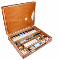 Daler Rowney Artists Oil Colour Deluxe Wooden Box Set - The inside