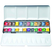 Daler Rowney Artists Watercolours Metal Case (Box) Art Set | 24 Half Pans - Main Image