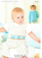 Baby / Boys Pattern for Train Tank Top and Sweater | Sirdar Snuggly DK 4443