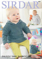 Hooded Sweater and Jacket | Sirdar Snuggly Baby Bamboo DK Pattern Number 4891 - Main Image