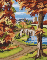 Anchor Tapestry Kit | Autumn Scene | 13 Count | Size 25 x 20 cm - Main Image