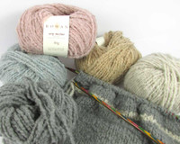 Rowan Cosy Merino Chunky Yarn   50g balls   Various shades with Striped Snood in progress
