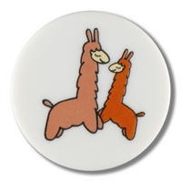 Dill Buttons | Lovely Llamas Buttons | White | 18mm