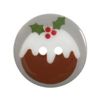 Christmas Printed Button: Christmas Pudding: 36 Lignes/23mm