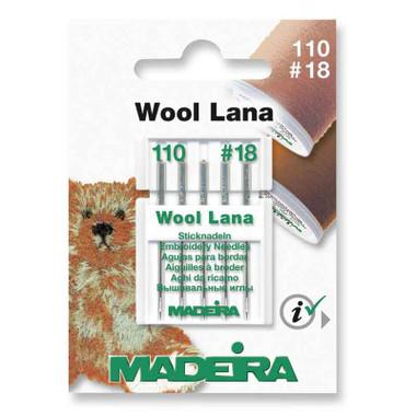 Madeira Machine Embroidery Wool Lana Needles | Size 110 - No. 18 | 5 Pcs - Main Image
