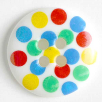 Multi-coloured Spotty Buttons   15 mm   White Base