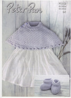 Dk Pattern for Baby Poncho and Bootees | Peter Pan Dk | P1312
