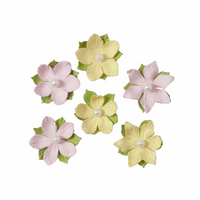 Trimits Craft Embellishment Paper Flowers with Pearls in Pink & Yellow | 6 Pieces - Main Image