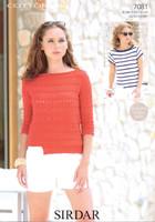 Boat Necked Tops DK Knitting Pattern | Sirdar Cotton DK 7081