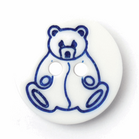 White Printed Blue Teddy Buttons   15 mm