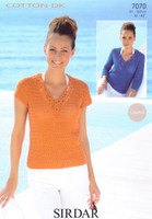 Crocheted Top and Sweater DK Pattern | Sirdar Cotton DK 7070