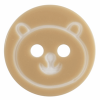 Cream Teddy Bear Face Button with 2 Hole, Sized 13mm