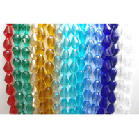 Multi Colour Crystal Glass Teardrop Faceted Beads Approx 8x11mm | Strings of 30 Beads | Various Shades