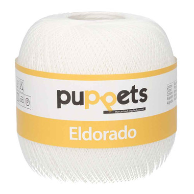Anchor Puppets Eldorado 50g Crochet Yarn 16 Tkt | 7001 White