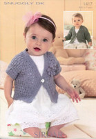 Sirdar Knitting Pattern 1417 for Single Buttoned Cardigans for Baby /Girls in Sirdar Snuggly DK